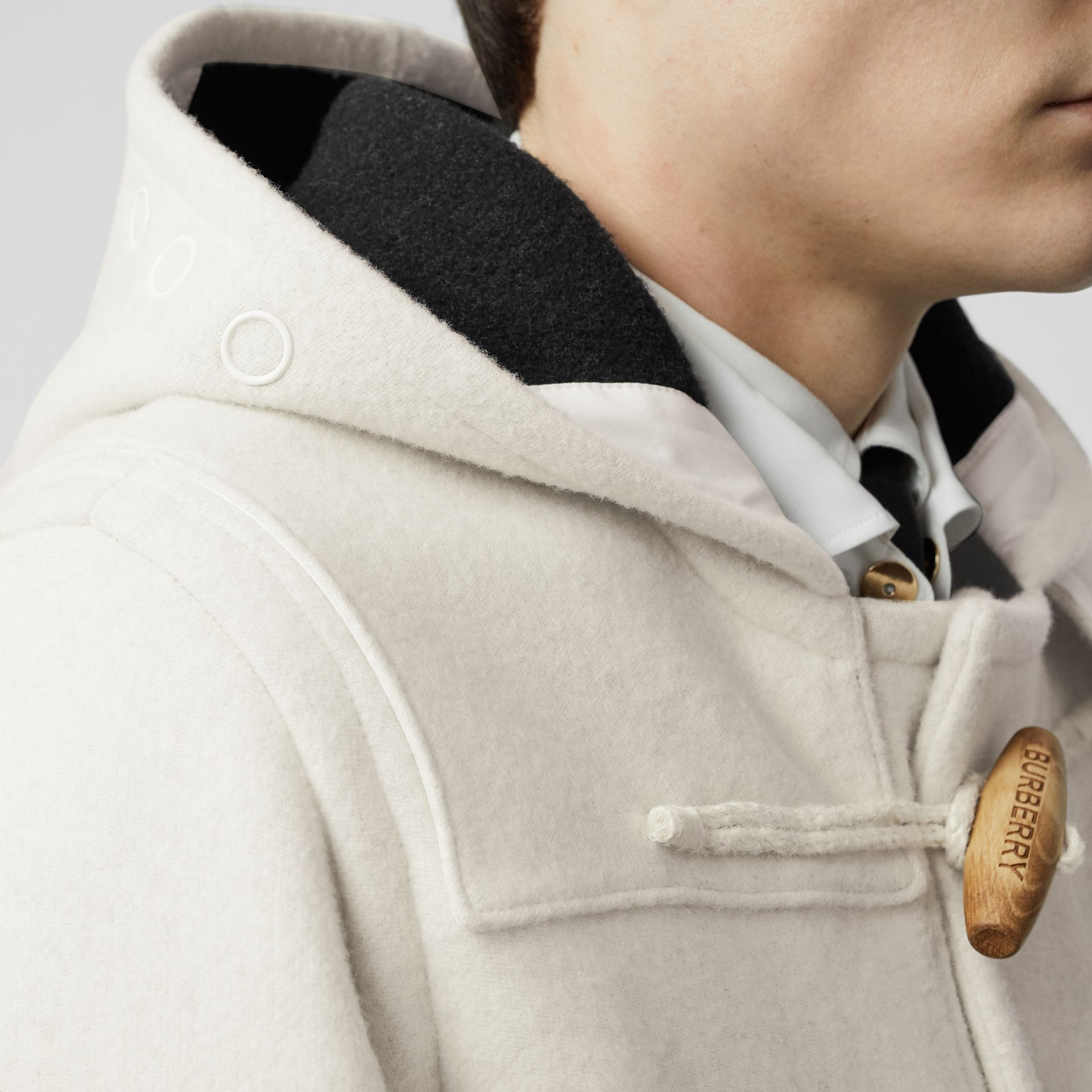 Stripe Detail Double-faced Wool Duffle Coat in White - Men | Burberry - gallery image 3