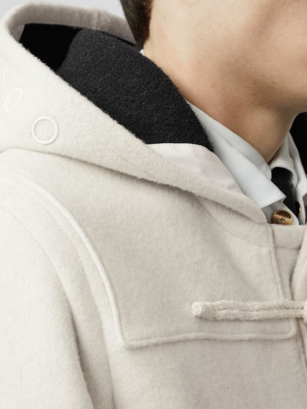 Stripe Detail Double-faced Wool Duffle Coat in White - Men | Burberry - cell image 3