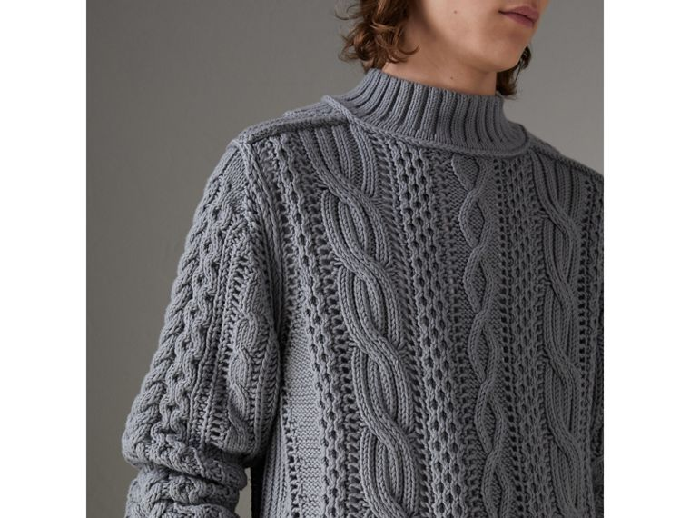 Open-stitch Detail Cable Knit Cotton Cashmere Sweater in Stone Blue - Men | Burberry - cell image 1
