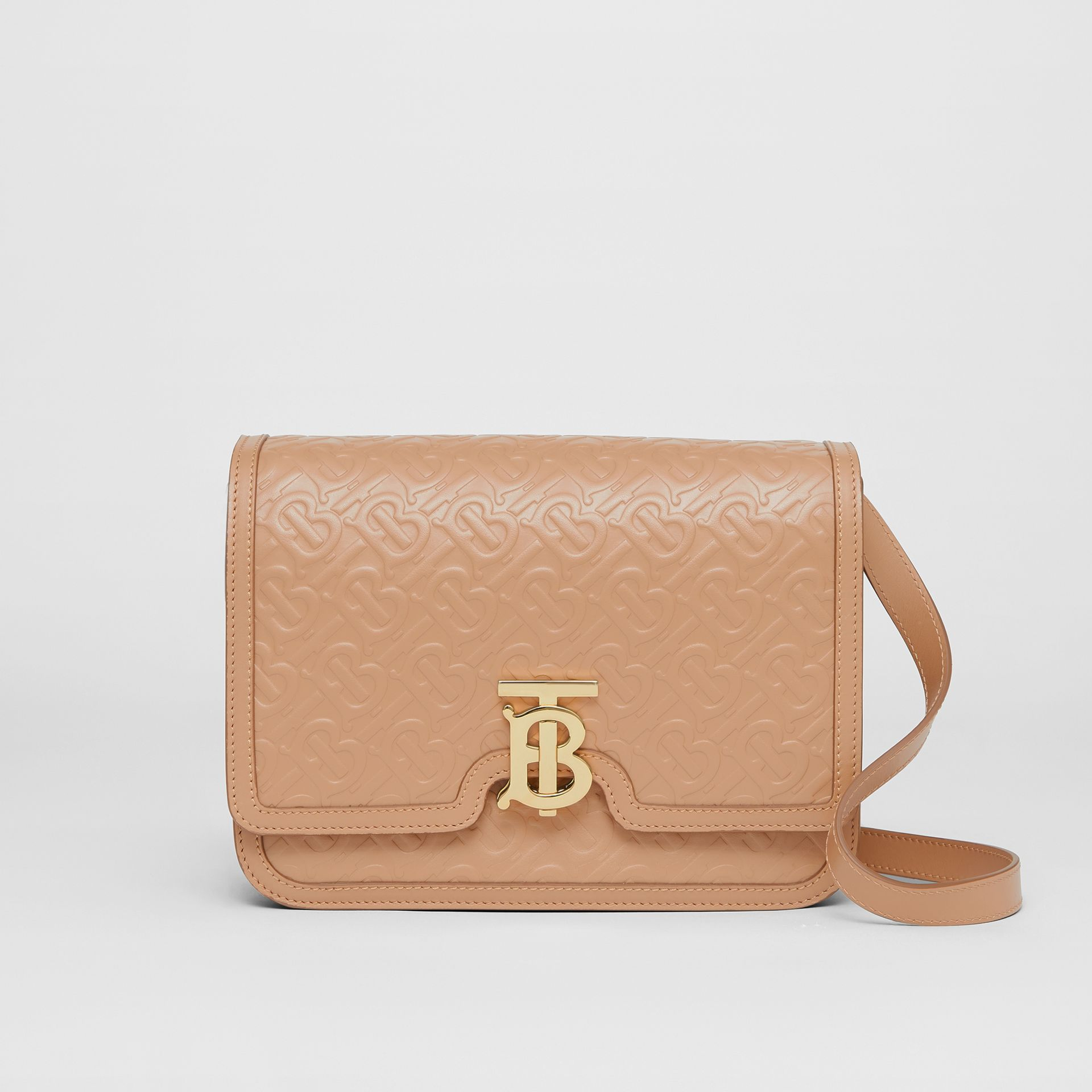 Medium Monogram Leather TB Bag in Light Camel - Women | Burberry - gallery image 0