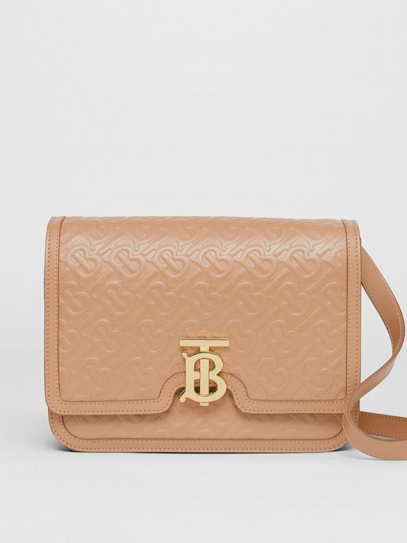Medium Monogram Leather TB Bag in Light Camel
