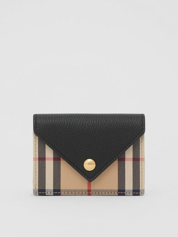 Vintage Check and Leather Card Case with Strap in Black
