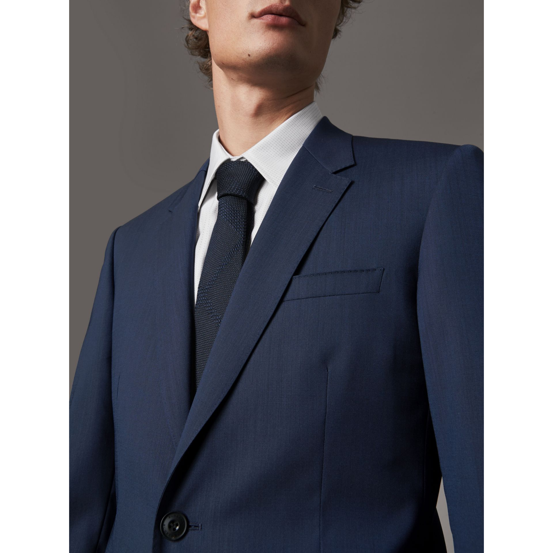 Modern Fit Stretch Wool Suit in Navy - Men | Burberry - gallery image 5
