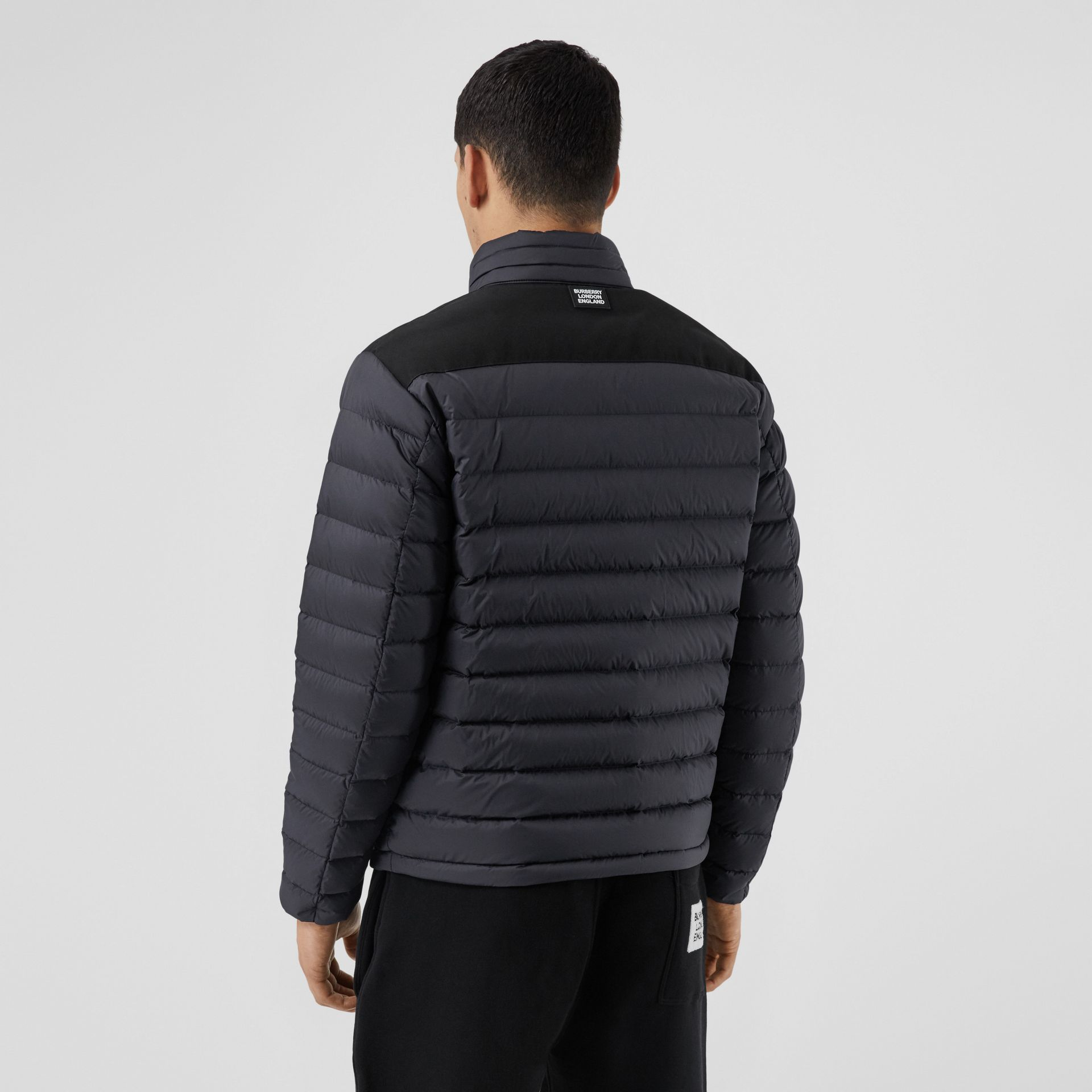 Logo Graphic Lightweight Puffer Jacket in Navy - Men | Burberry - gallery image 2