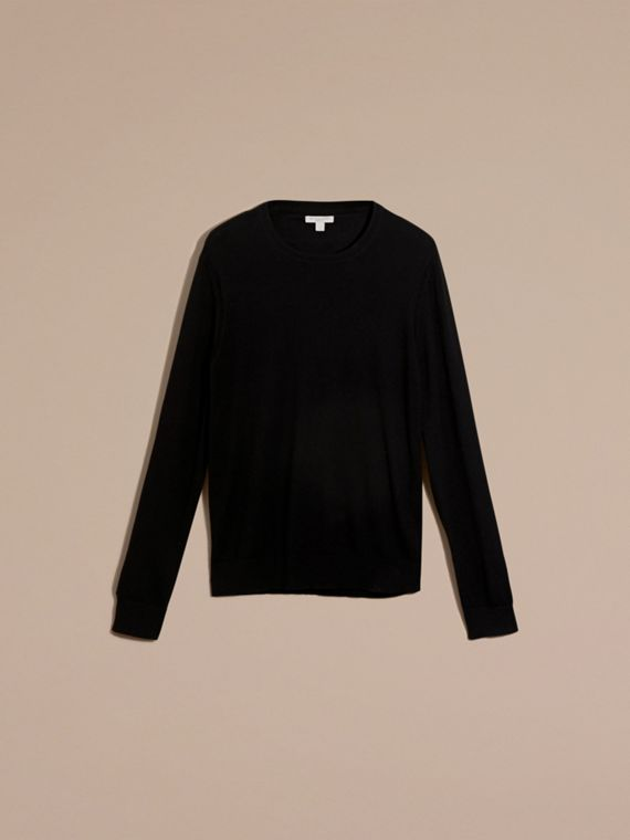 Check Trim Cashmere Cotton Sweater in Black - Men | Burberry - cell image 3