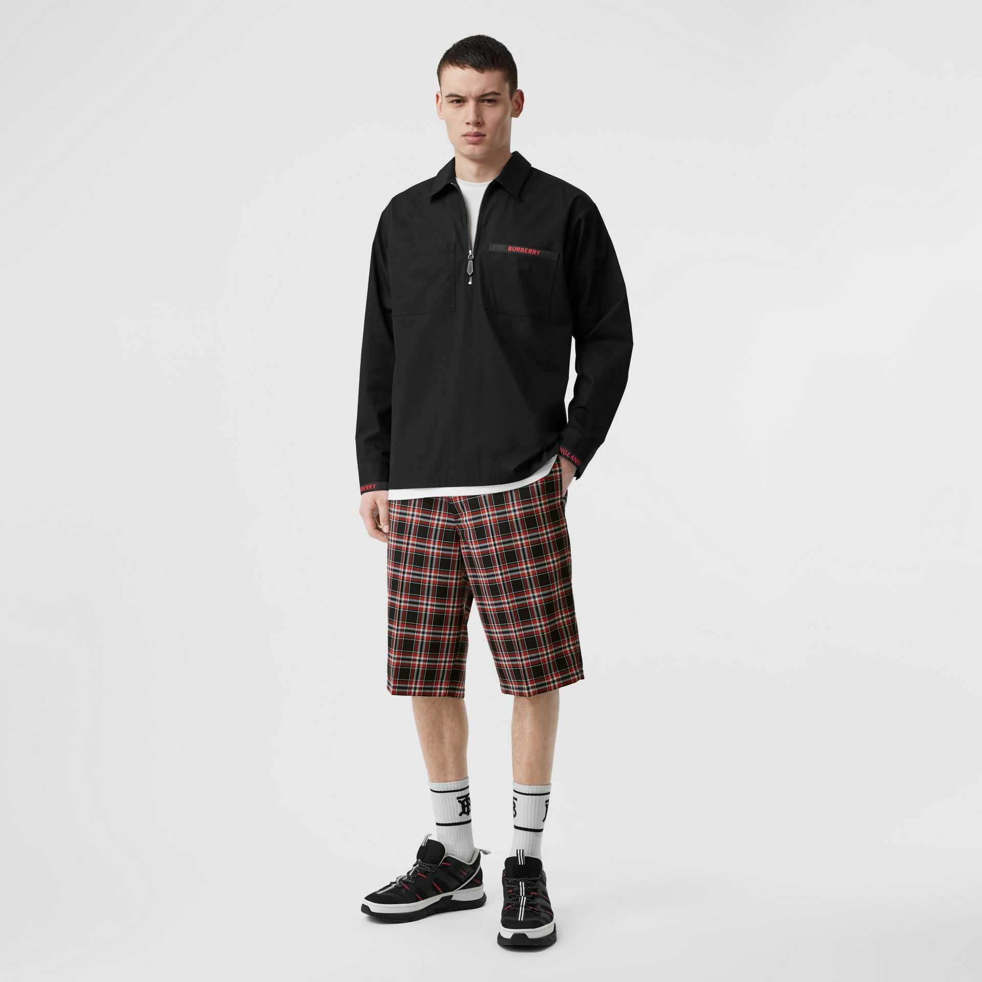 Pocket Detail Check Wool Tailored Shorts in Black - Men | Burberry United States - gallery image 0