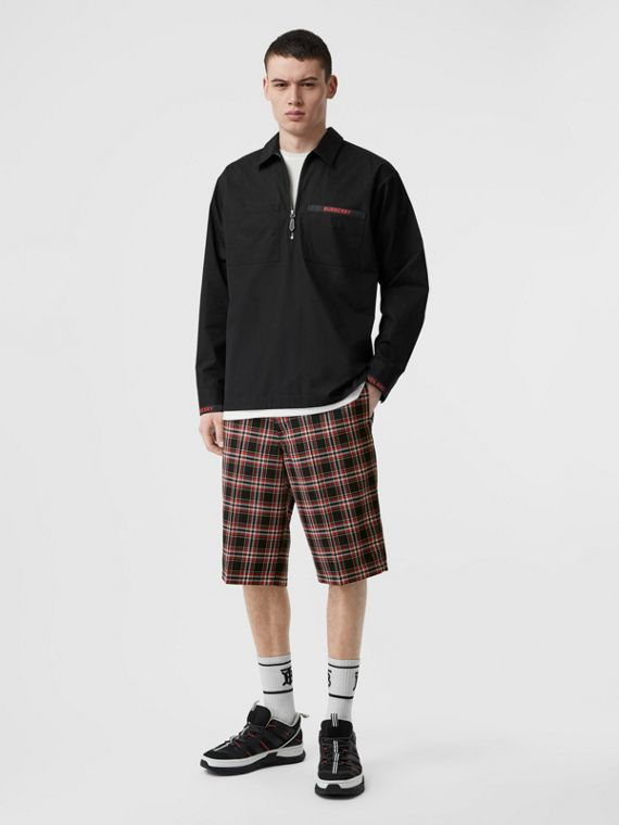 Check Wool Shorts in Black