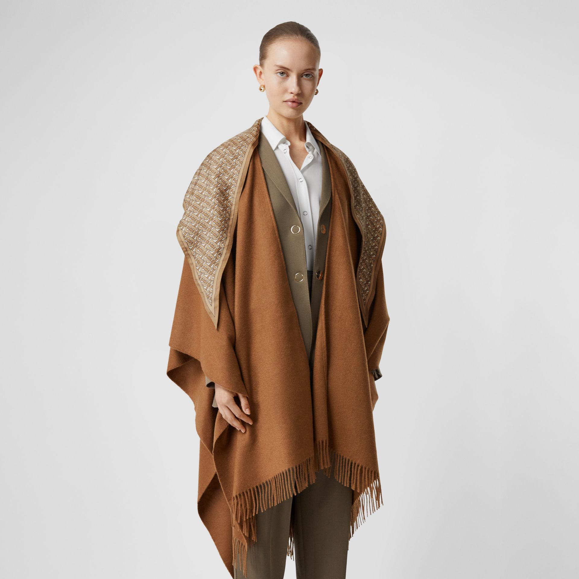 Detachable Monogram Print Scarf Cashmere Cape in Fern - Women | Burberry - gallery image 6