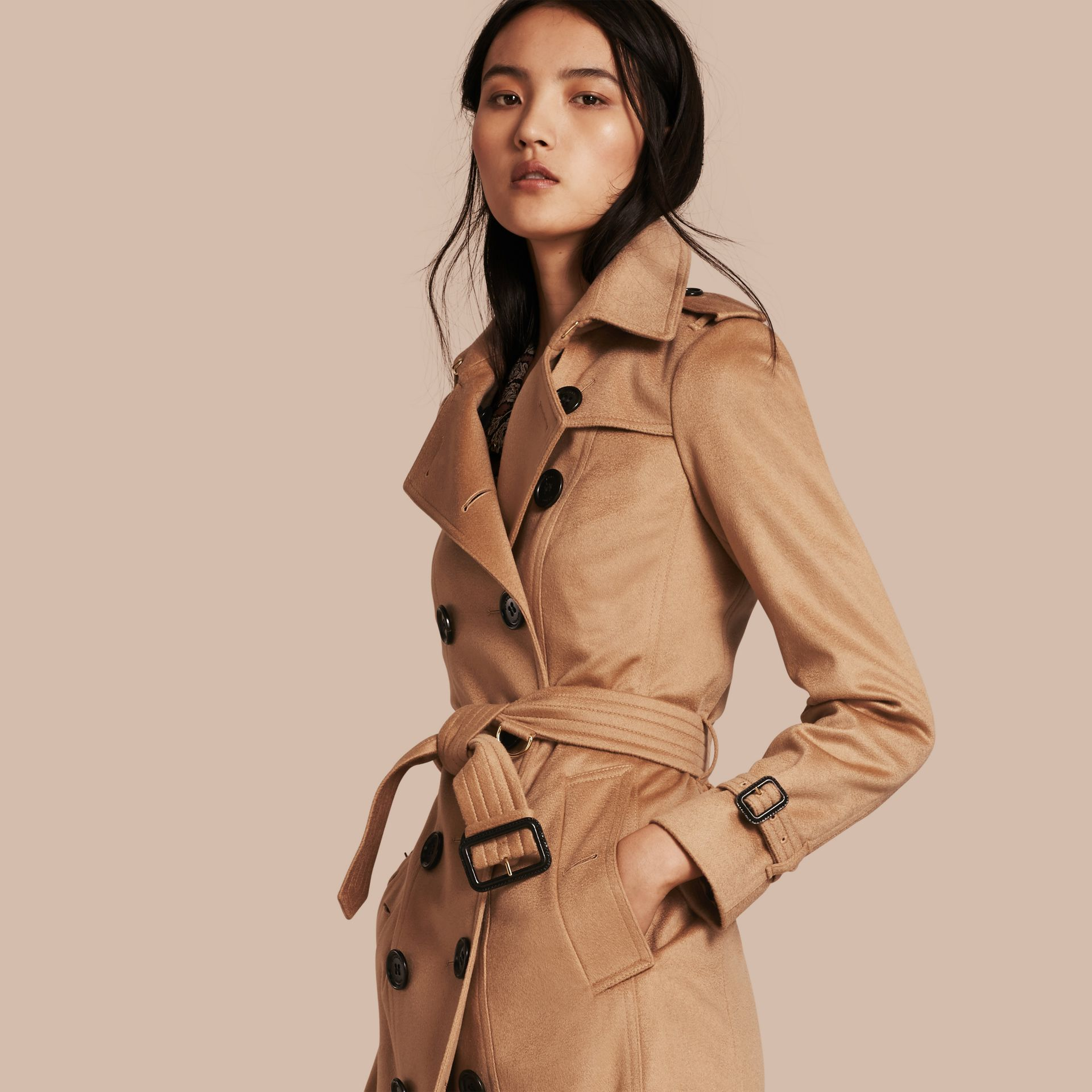 Sandringham Fit Cashmere Trench Coat Camel - gallery image 1