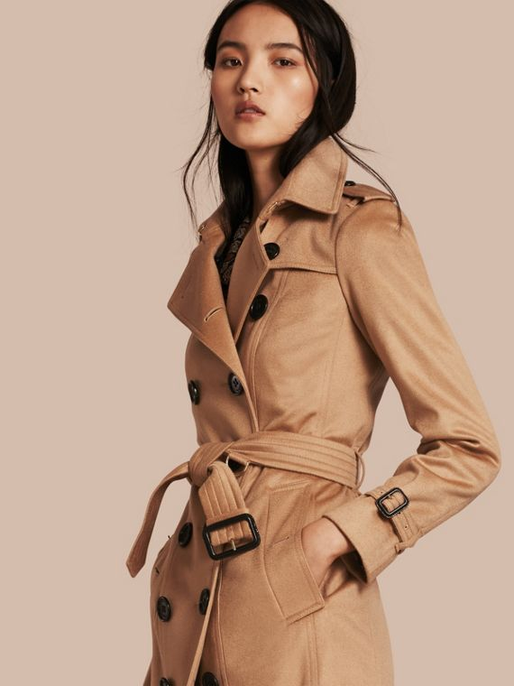 Sandringham Fit Cashmere Trench Coat Camel