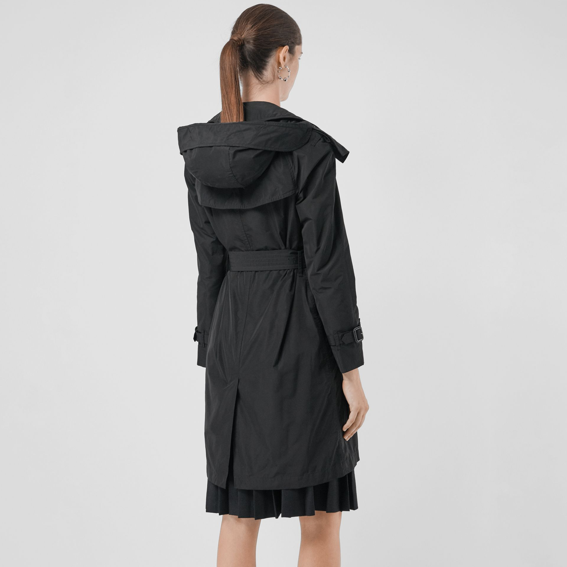 Detachable Hood Taffeta Trench Coat in Black - Women | Burberry - gallery image 2