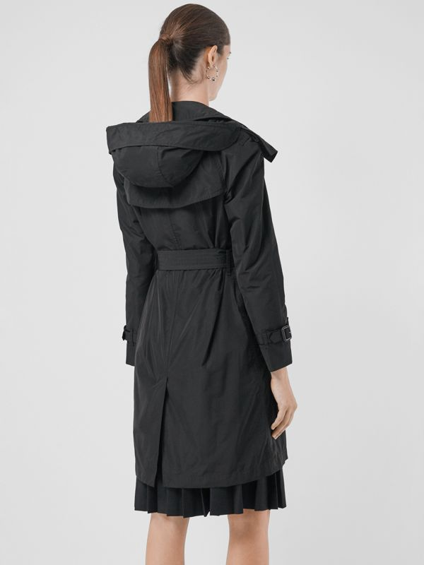 Detachable Hood Taffeta Trench Coat in Black - Women | Burberry Canada - cell image 2