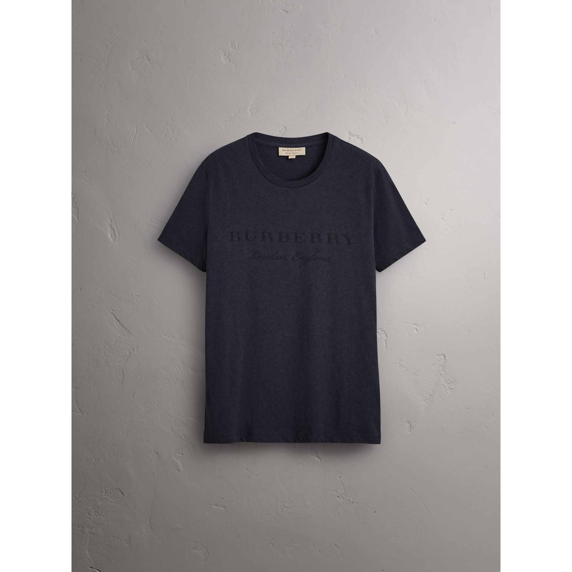 Devoré Cotton Jersey T-shirt in Navy Melange - Men | Burberry - gallery image 3