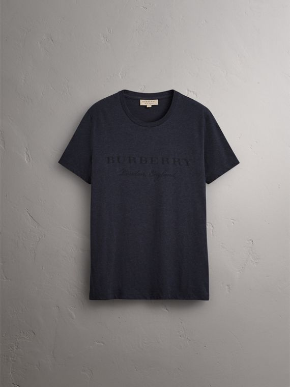 Devoré Cotton Jersey T-shirt in Navy Melange - Men | Burberry - cell image 3