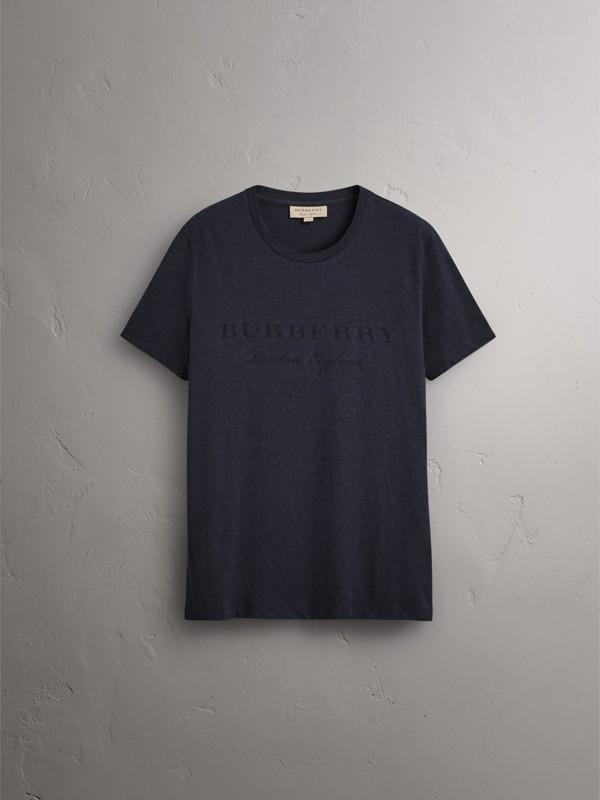 Devoré Cotton Jersey T-shirt in Navy Melange - Men | Burberry United Kingdom - cell image 3