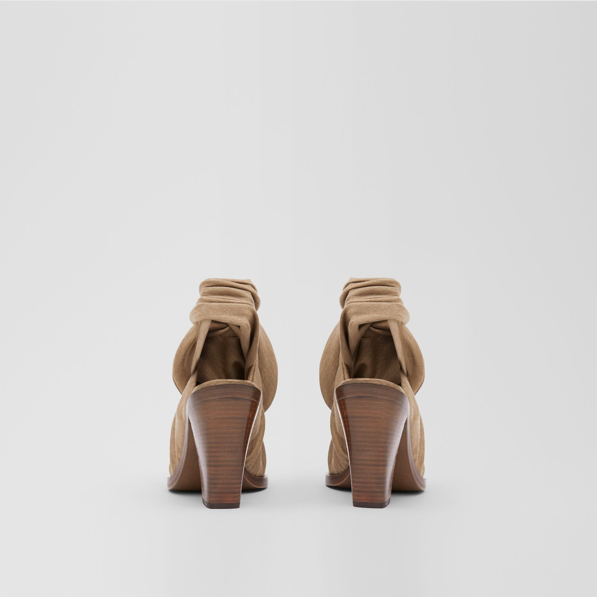 Scarf Tie Detail Technical Wool Point-toe Mules in Pecan Melange - Women | Burberry - gallery image 3