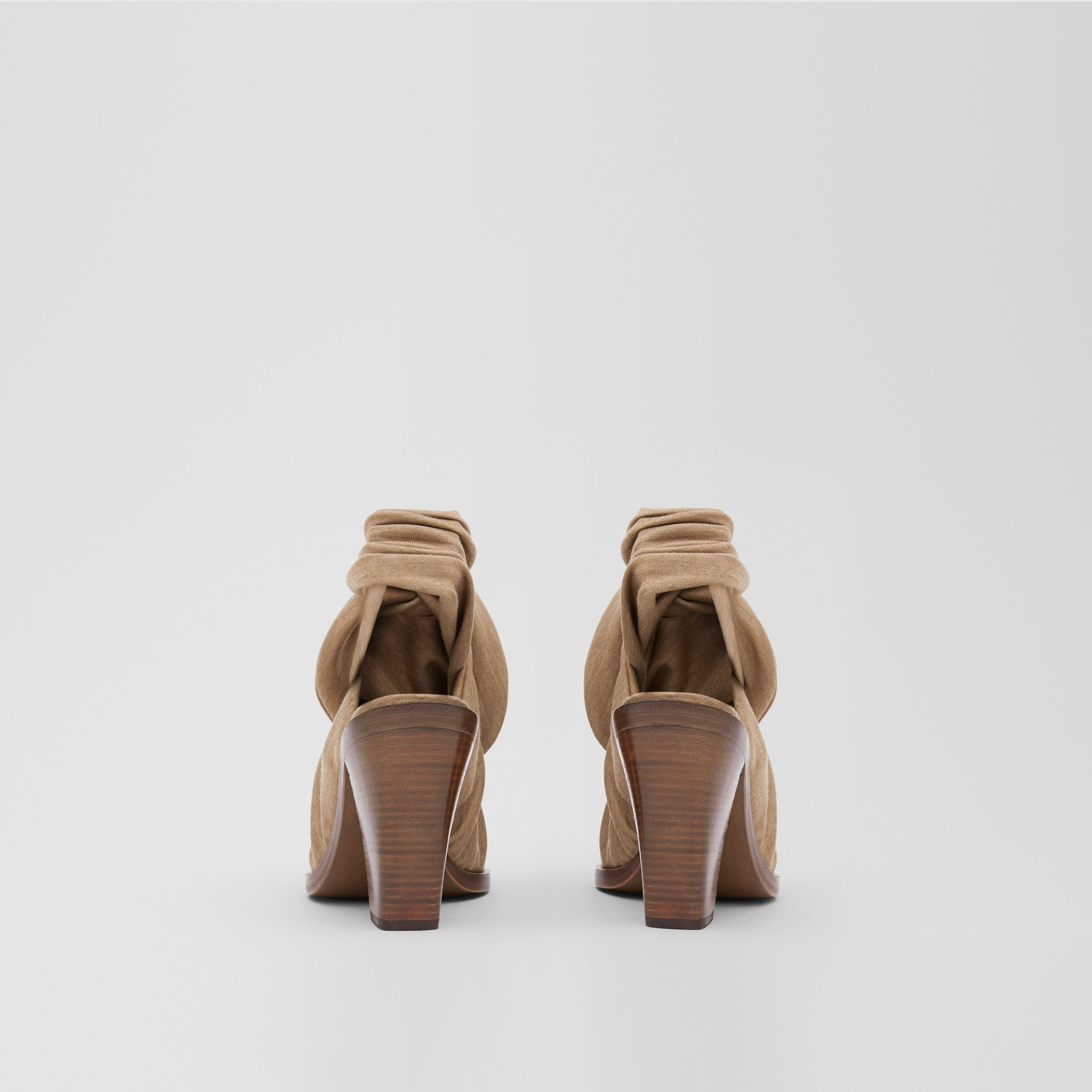 Scarf Tie Detail Technical Wool Point-toe Mules in Pecan Melange - Women | Burberry - 4