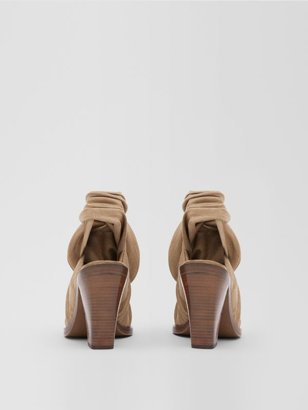 Scarf Tie Detail Technical Wool Point-toe Mules in Pecan Melange - Women | Burberry - cell image 3