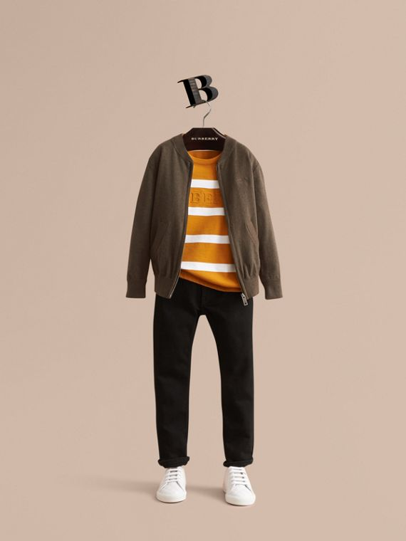 Check Detail Cotton Zip-front Cardigan - Boy | Burberry