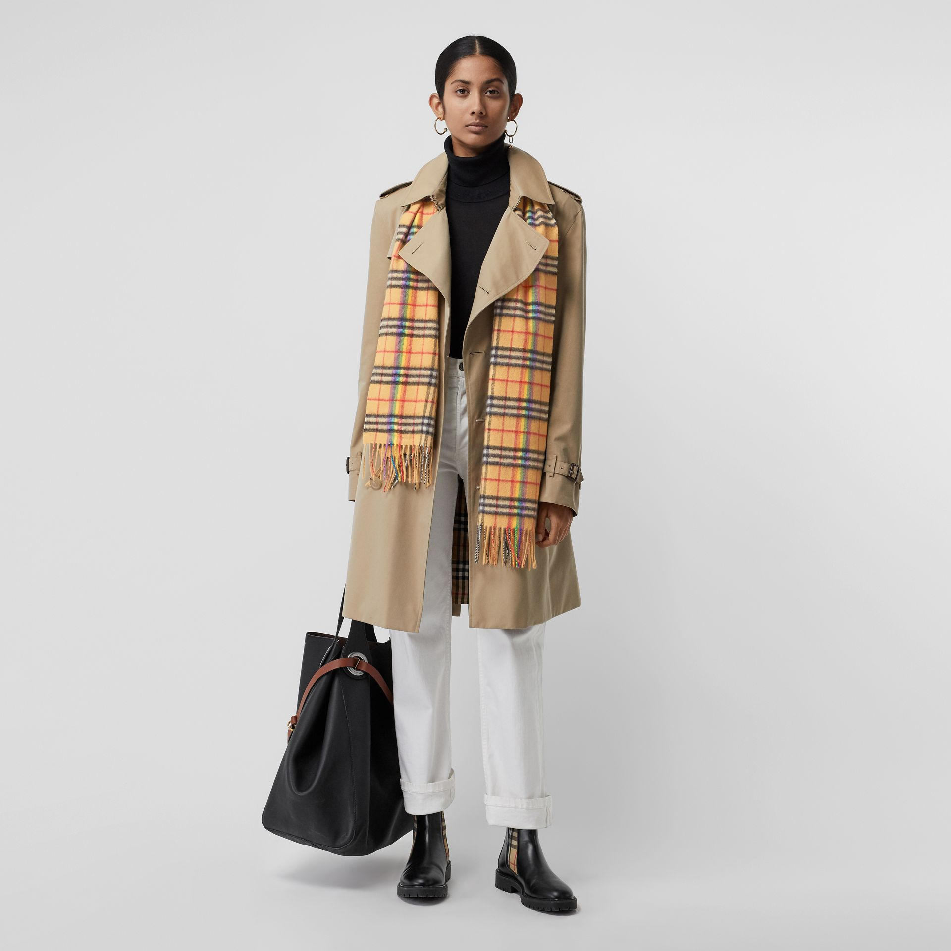 The Classic Rainbow Vintage Check Cashmere Scarf in Antique Yellow | Burberry - gallery image 2