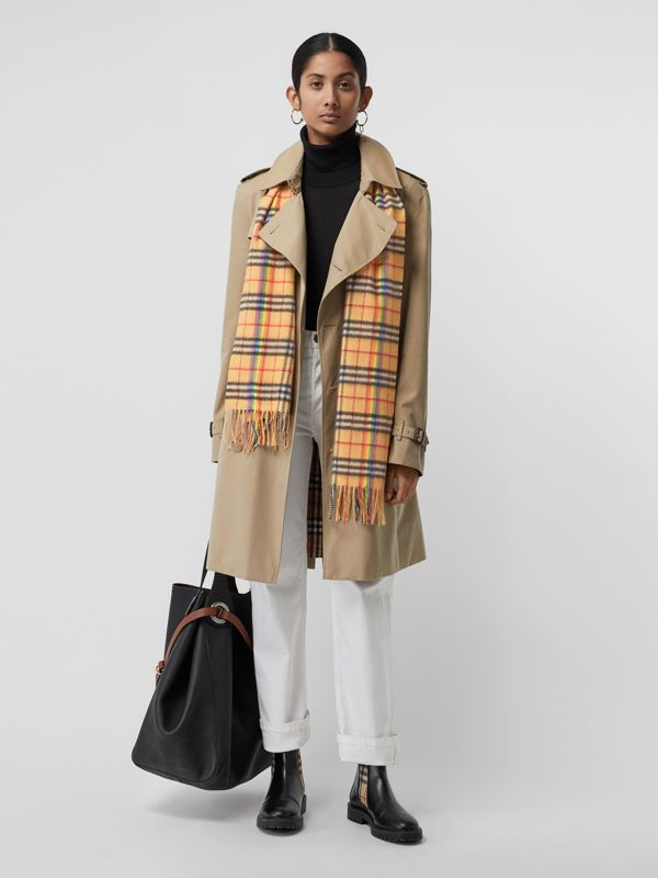 The Classic Rainbow Vintage Check Cashmere Scarf in Antique Yellow | Burberry United Kingdom - cell image 2