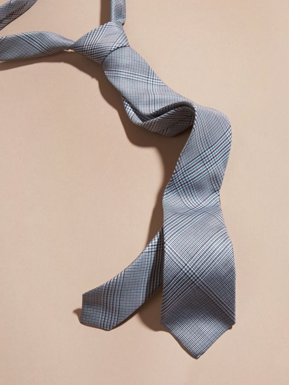 Slim Cut Check Cotton Silk Tie Eucalyptus Green