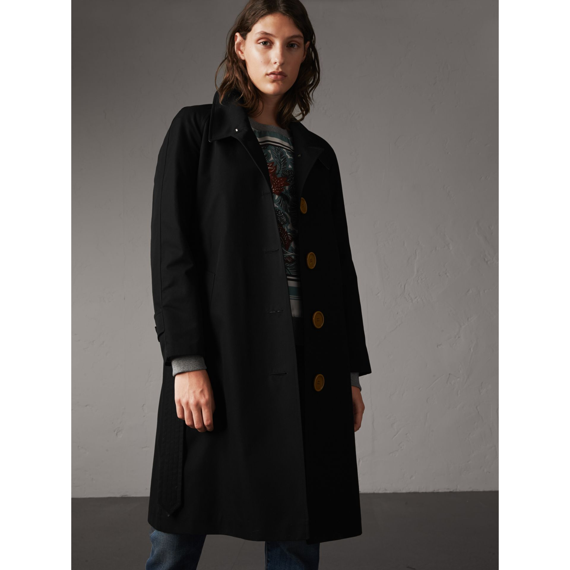 Resin Button Cotton Gabardine Trench Coat in Black - gallery image 7
