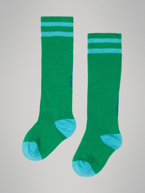 Logo Striped Cotton Blend Socks in Grass Green - Children | Burberry - cell image 2