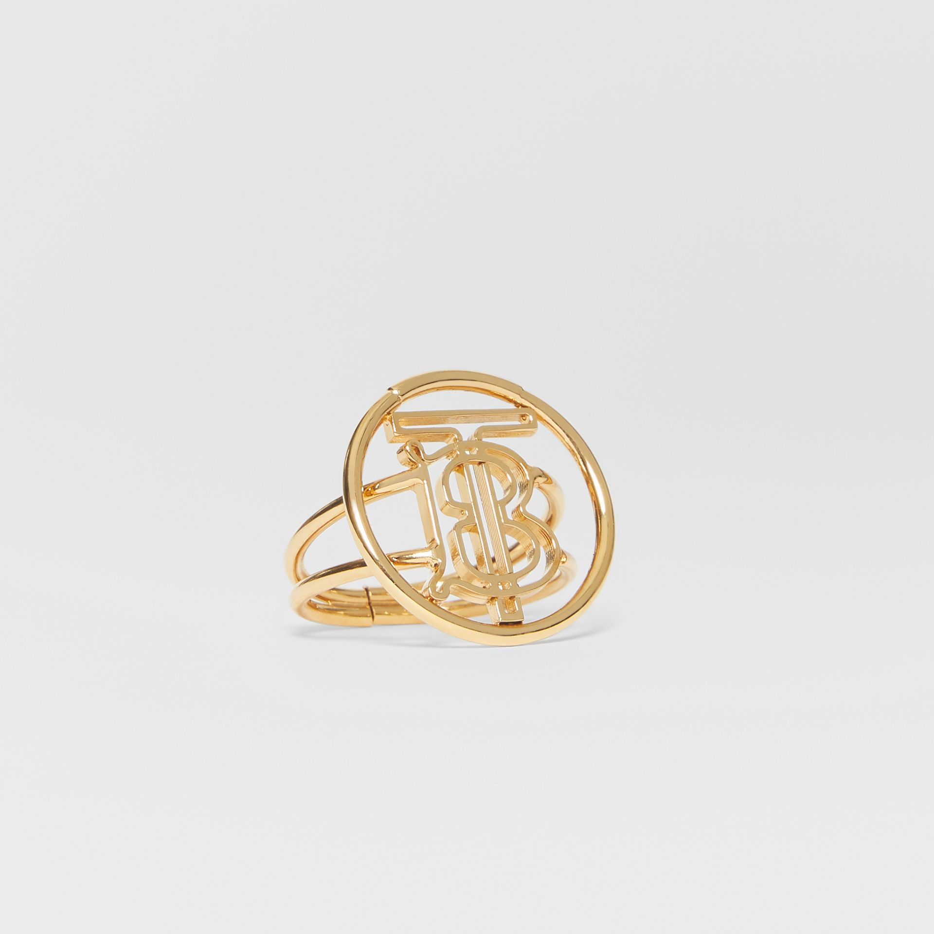 Large Gold-plated Monogram Motif Ring in Light - Women | Burberry United Kingdom - gallery image 2