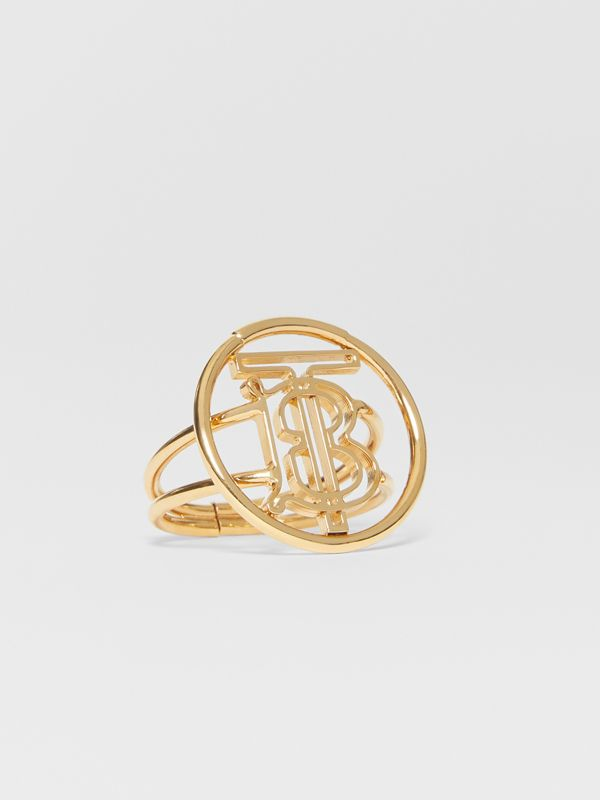 Large Gold-plated Monogram Motif Ring in Light - Women | Burberry - cell image 2