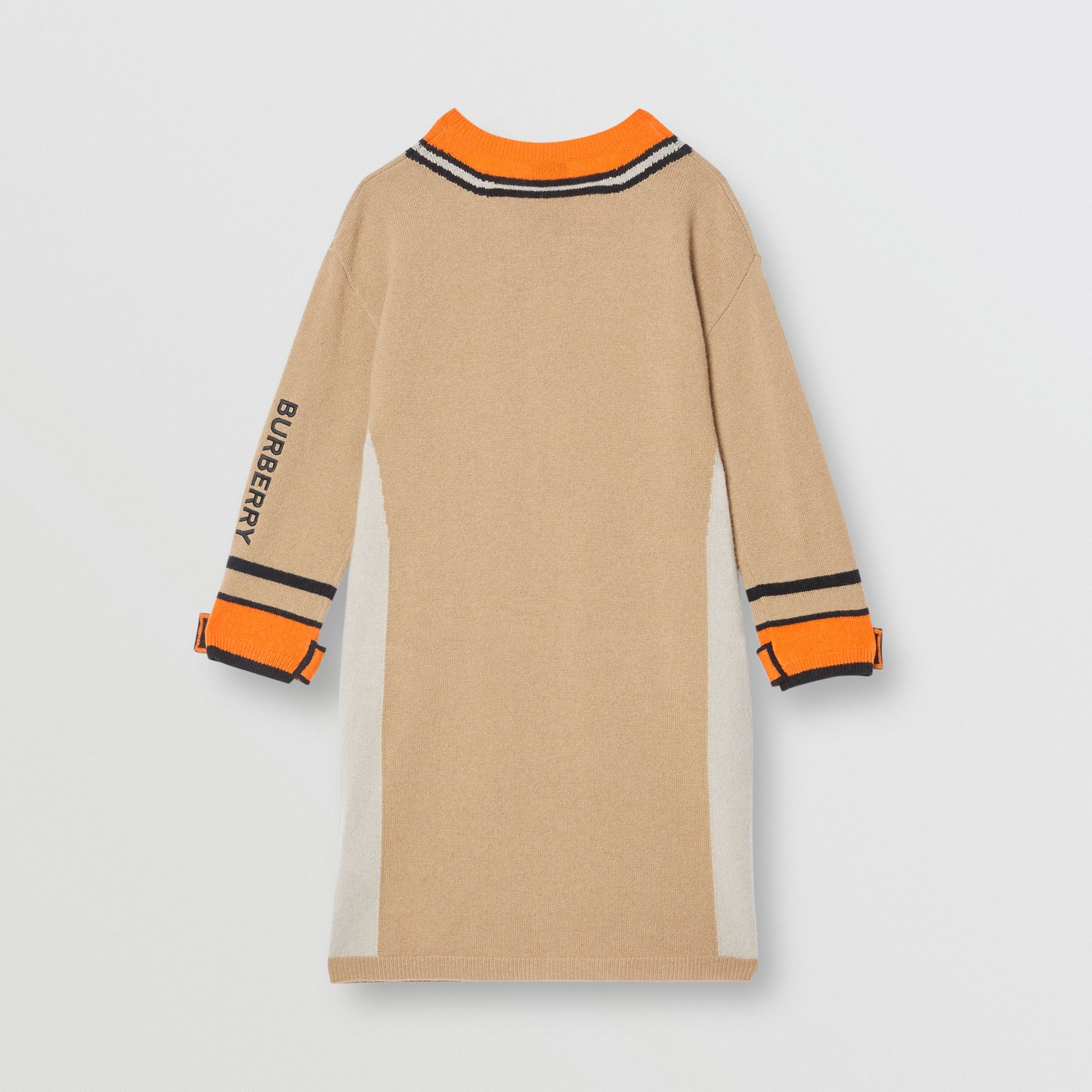 Trompe L'Oeil Intarsia Cashmere Sweater Dress in Archive Beige | Burberry - gallery image 3