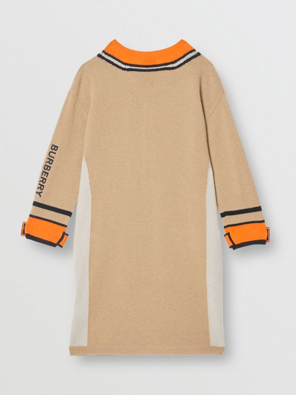 Trompe L'Oeil Intarsia Cashmere Sweater Dress in Archive Beige | Burberry - cell image 3