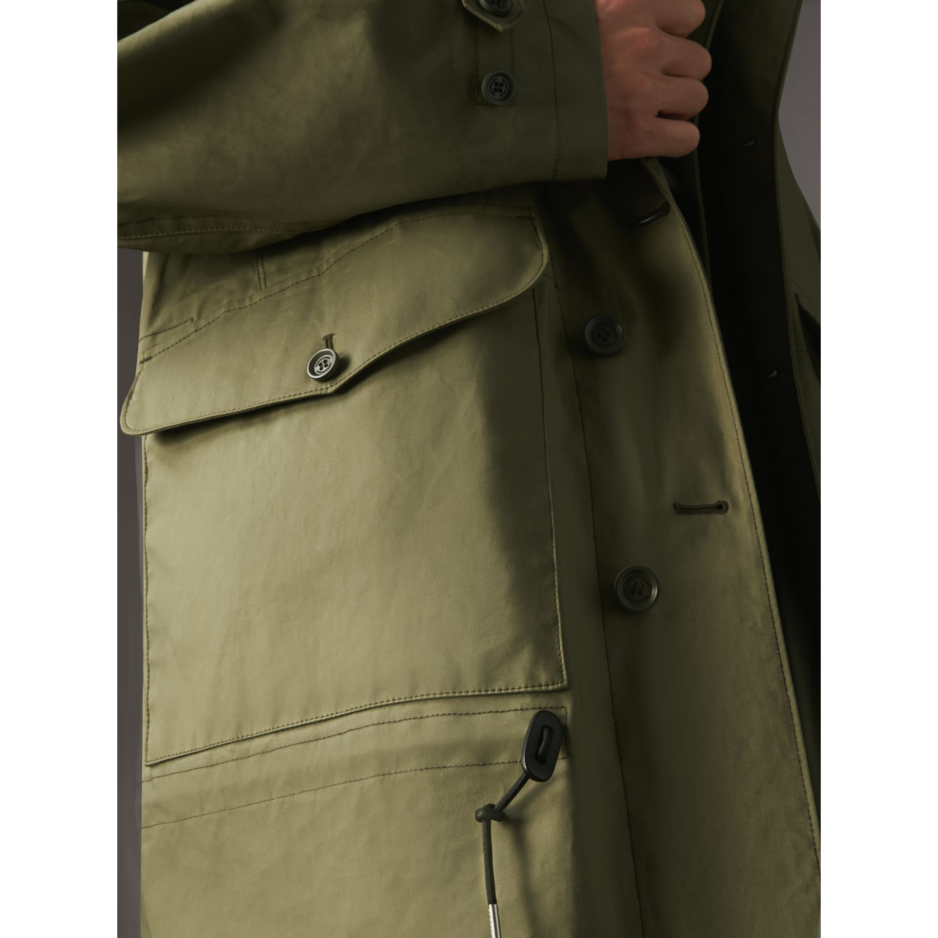 Bonded Cotton Parka with Detachable Warmer in Khaki Green - Men | Burberry - gallery image 5