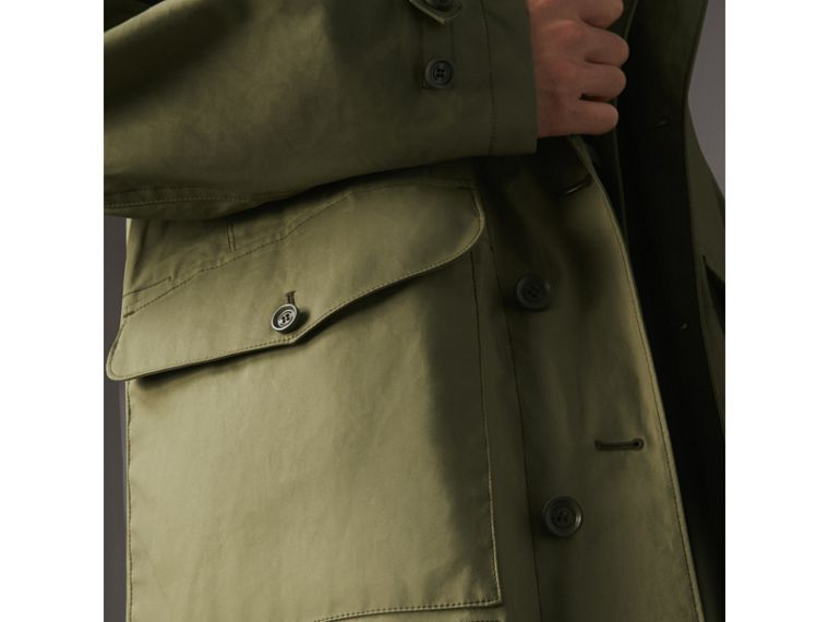 Bonded Cotton Parka with Detachable Warmer in Khaki Green - Men | Burberry - cell image 4
