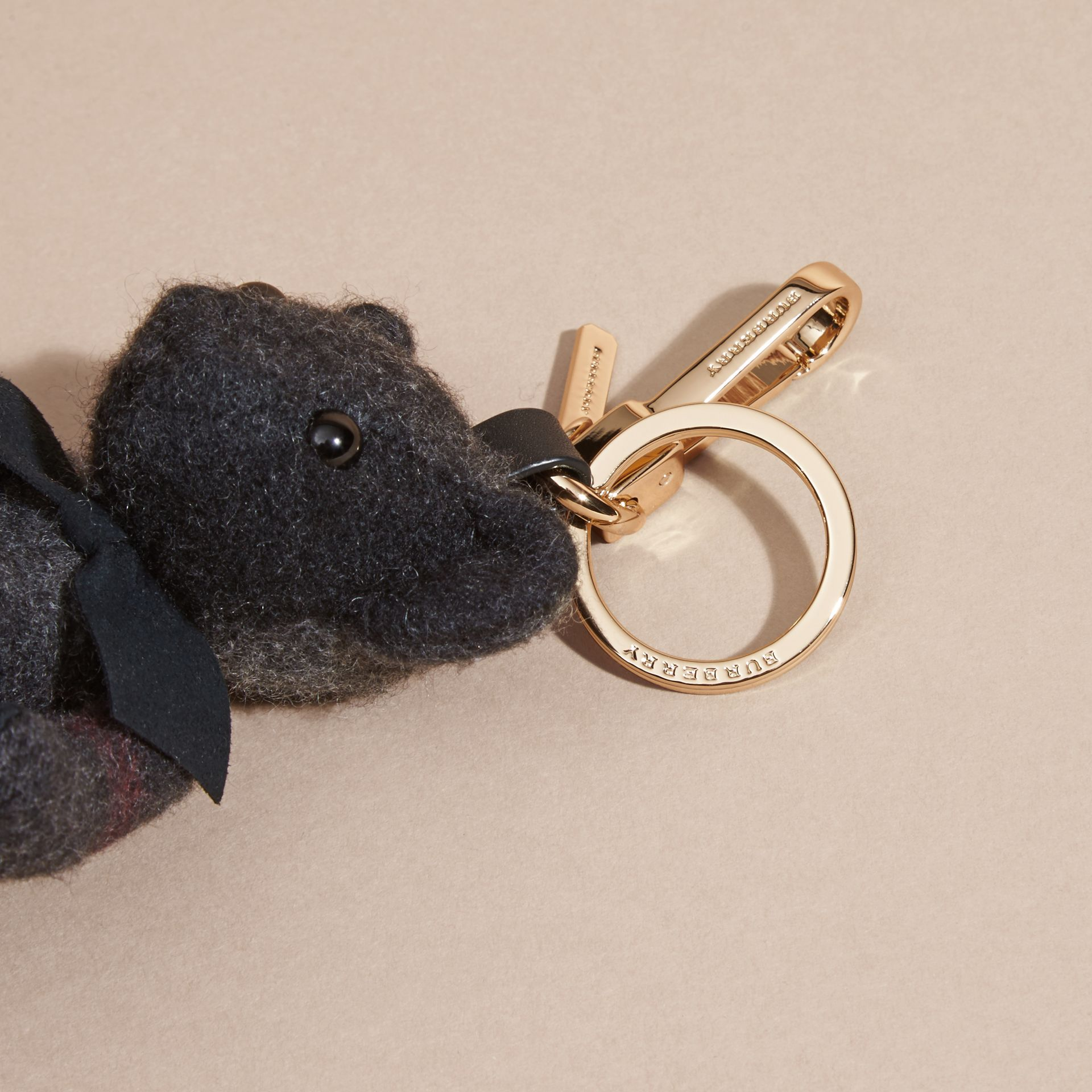 Charcoal Thomas Bear Charm in Check Cashmere Charcoal - gallery image 2