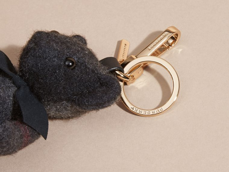 Charcoal Thomas Bear Charm in Check Cashmere Charcoal - cell image 1