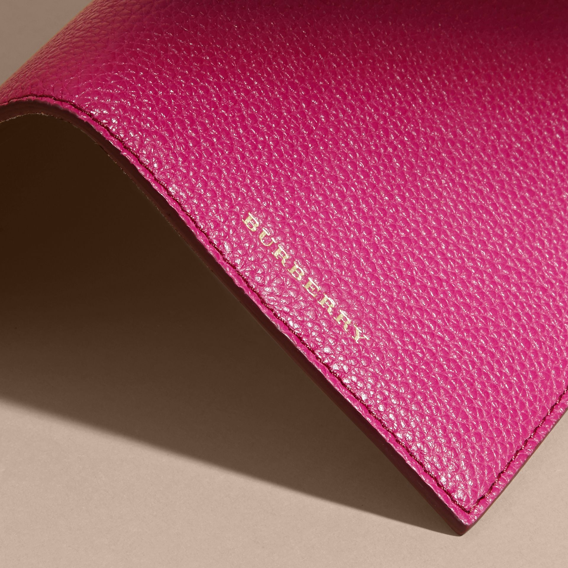 Grainy Leather Passport Holder in Brilliant Fuchsia - Women | Burberry - gallery image 2