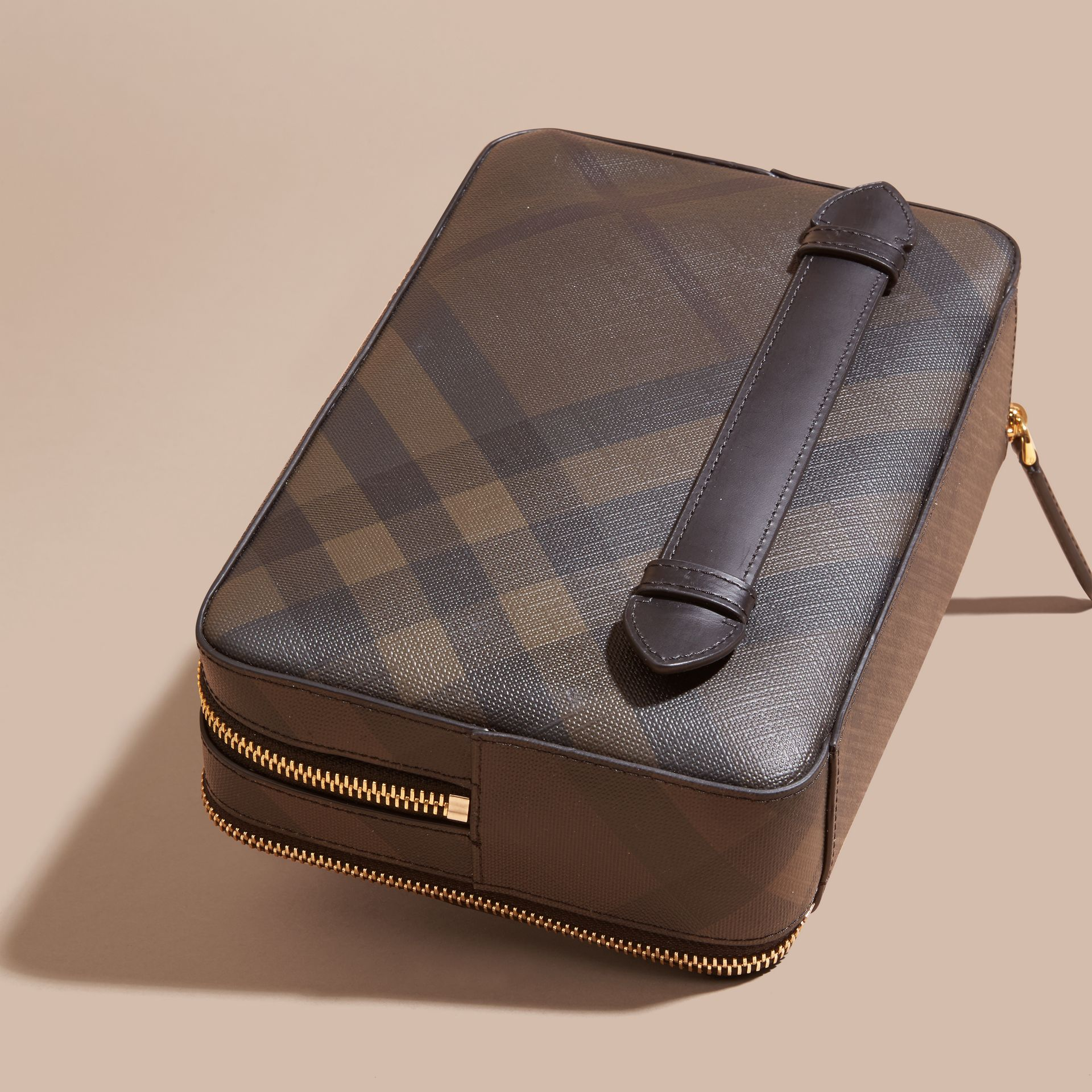 Leather-trimmed London Check Pouch in Chocolate/black - Men | Burberry - gallery image 3