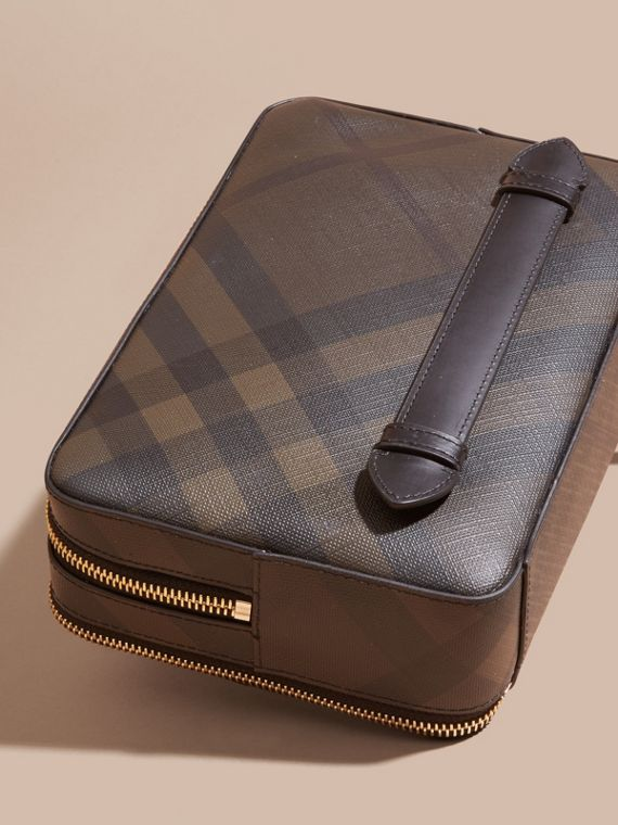 Chocolate/black Leather-trimmed London Check Pouch - cell image 2