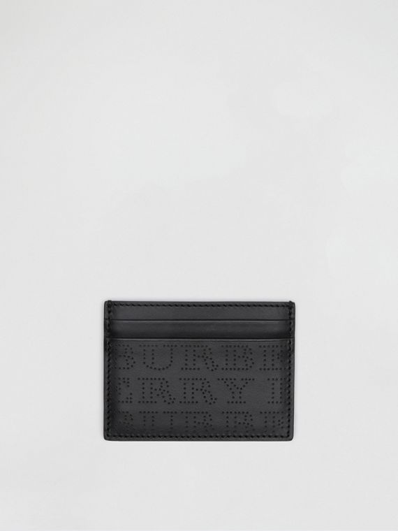 Porta carte di credito in pelle con logo traforato (Nero)