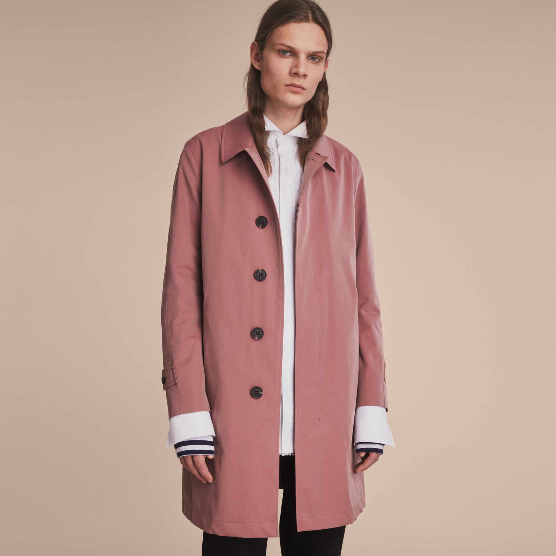 Tropical Gabardine Car Coat Antique Rose - gallery image 8