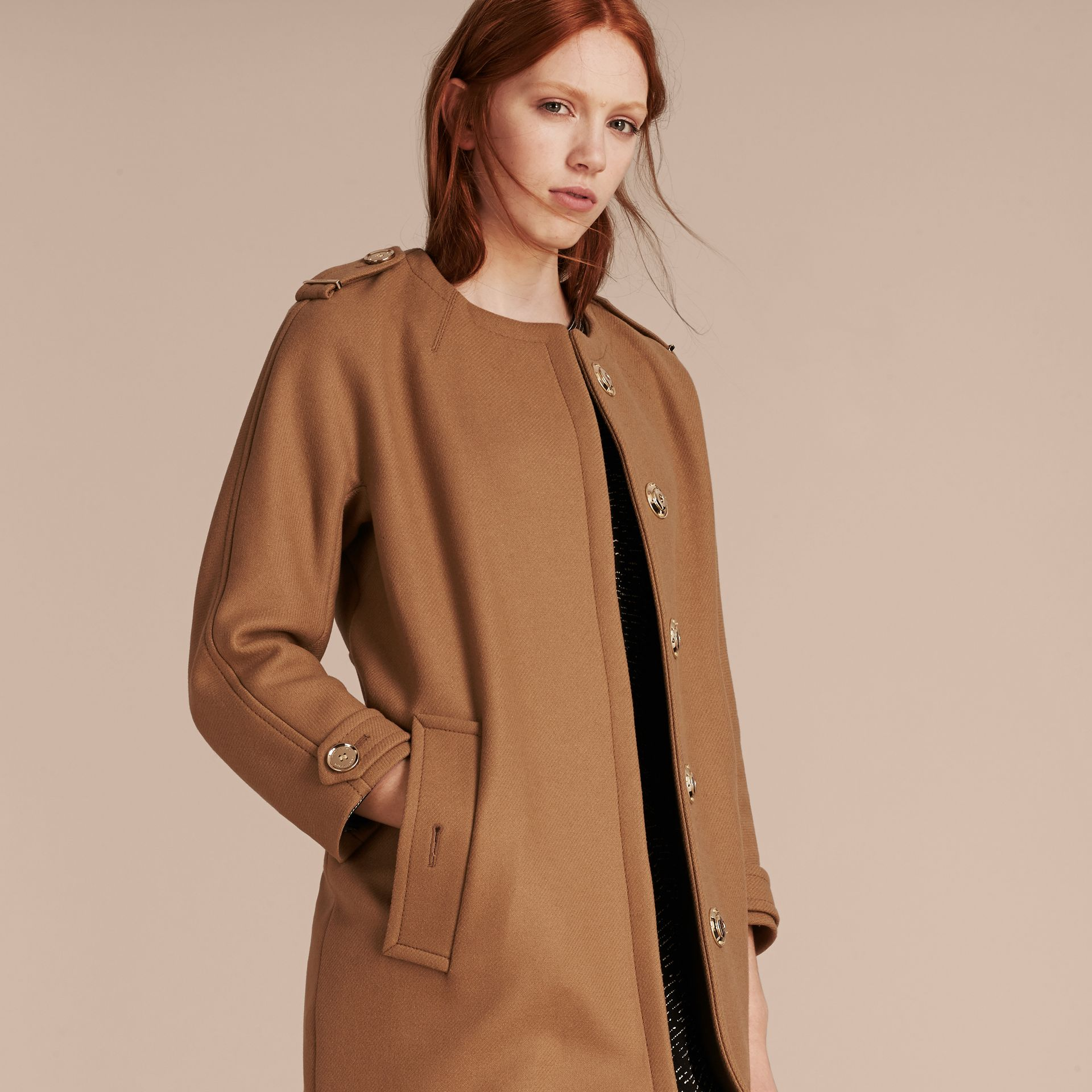 Camel Technical Wool Cashmere Blend Collarless Coat - gallery image 7