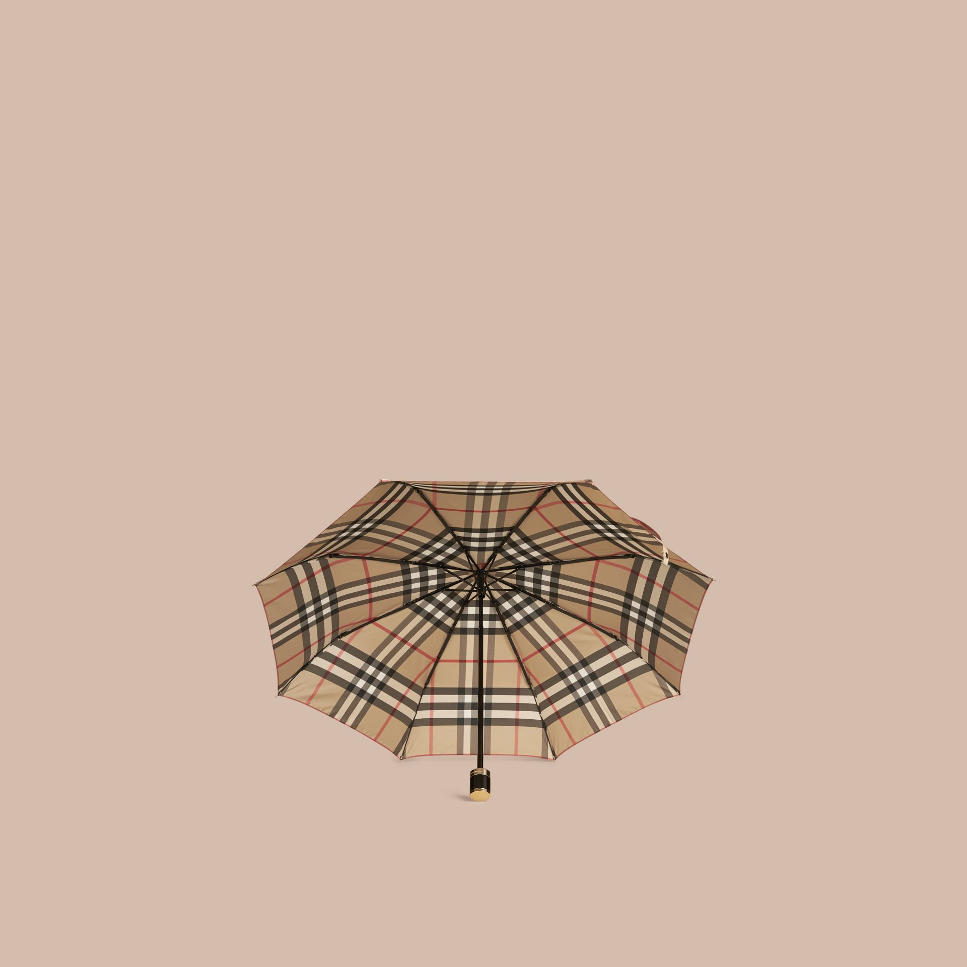 Check Folding Umbrella in Camel - gallery image 2