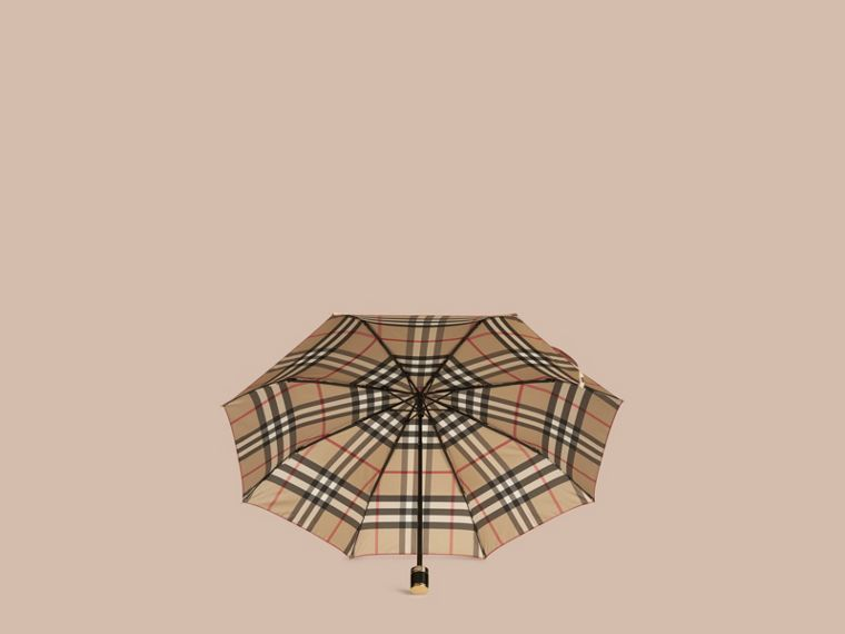 Check Folding Umbrella in Camel - cell image 1