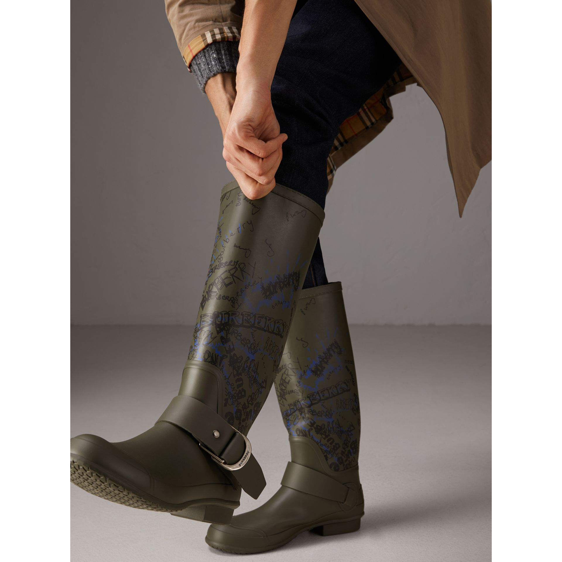 Doodle Print Rubber Rain Boots in Military Green - Men | Burberry - gallery image 2
