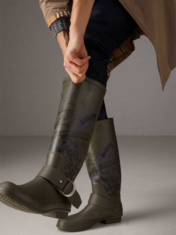 Doodle Print Rubber Rain Boots in Military Green - Men | Burberry - cell image 2