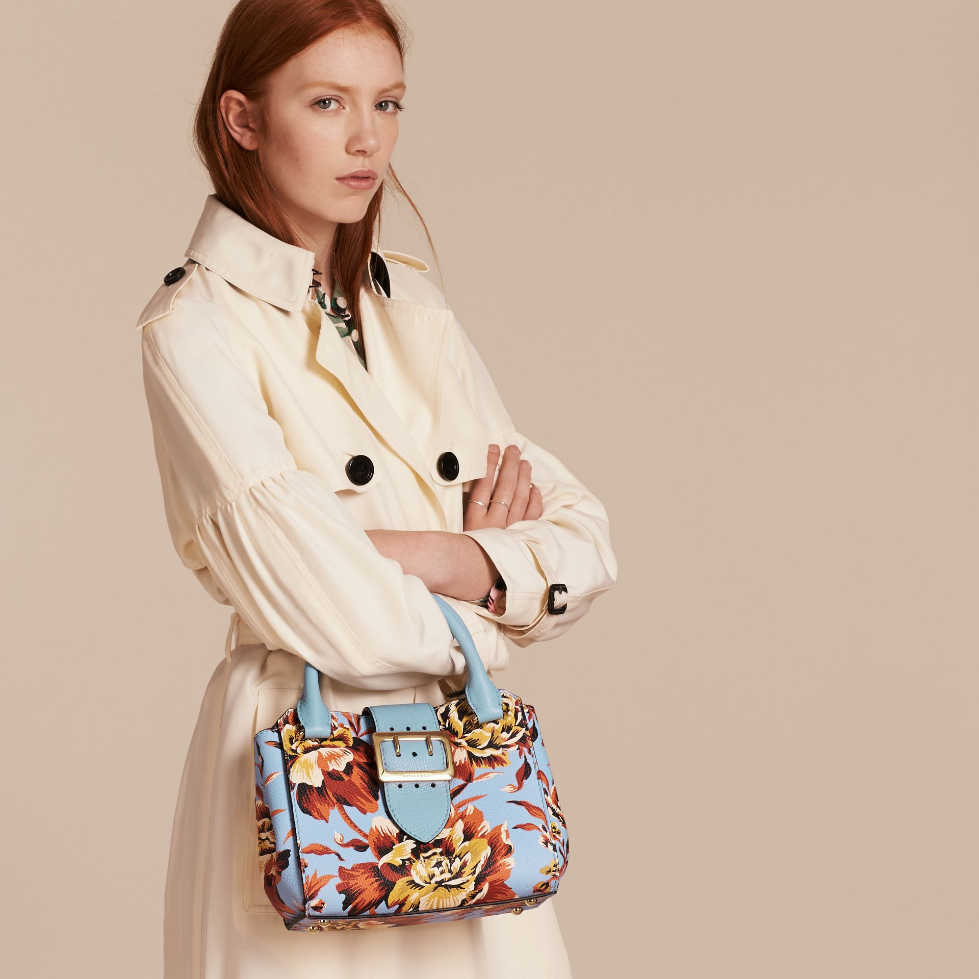 Pale blue/vibrant orange The Small Buckle Tote in Peony Rose Print Leather Pale Blue/vibrant Orange - gallery image 3
