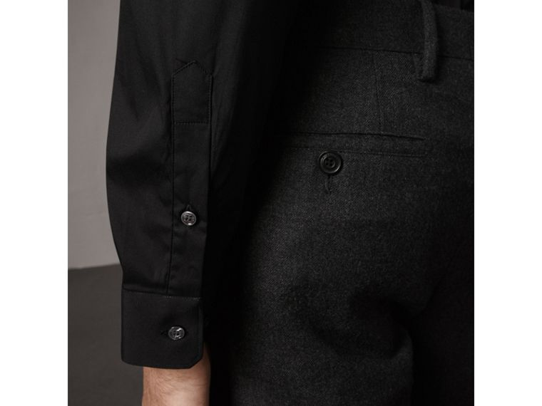 Slim Fit Stretch Cotton Shirt in Black - Men | Burberry - cell image 1
