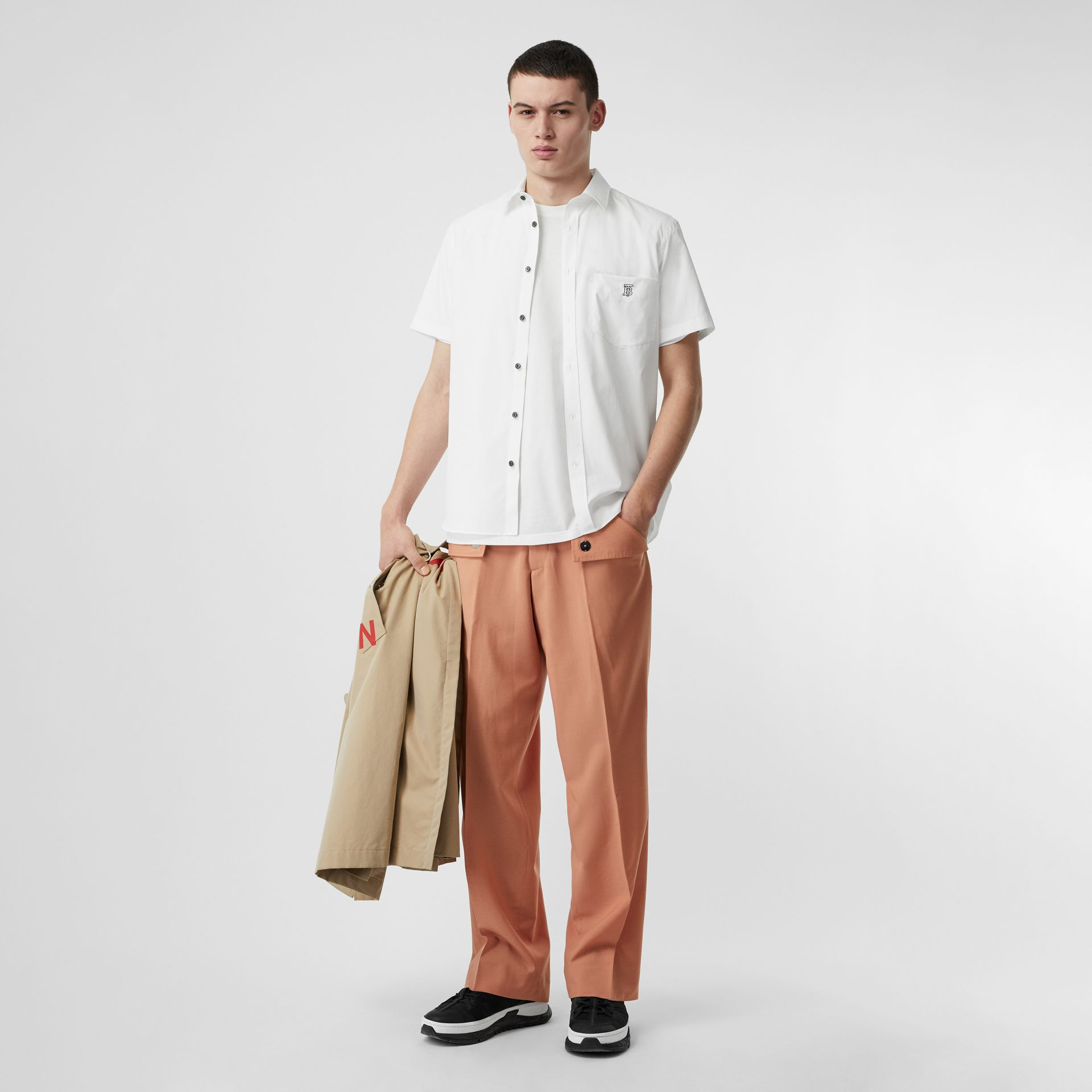 Monogram Motif Stretch Cotton Poplin Shirt in White - Men | Burberry Australia - gallery image 0