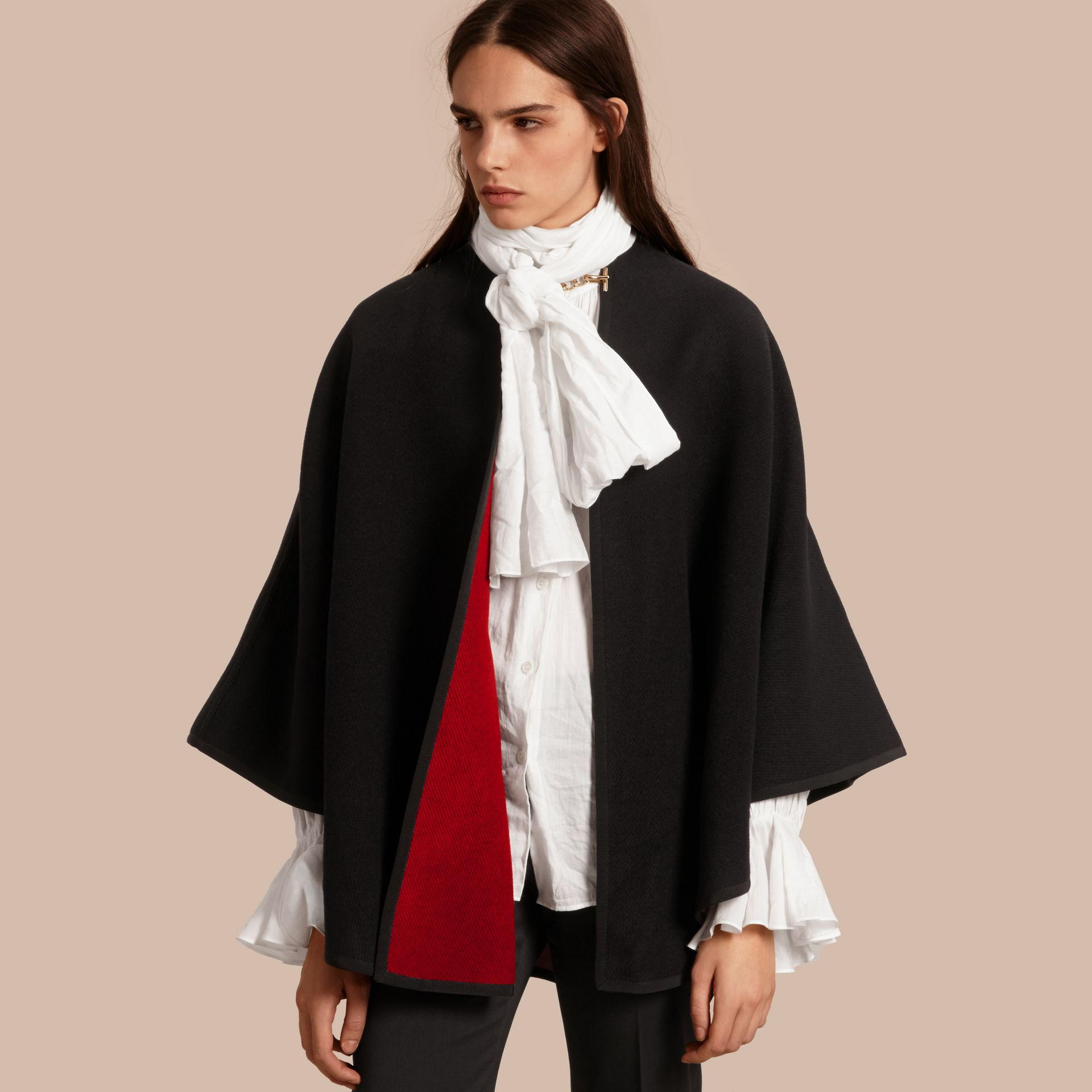 Wool Cashmere Military Cape in Black/parade Red - gallery image 1